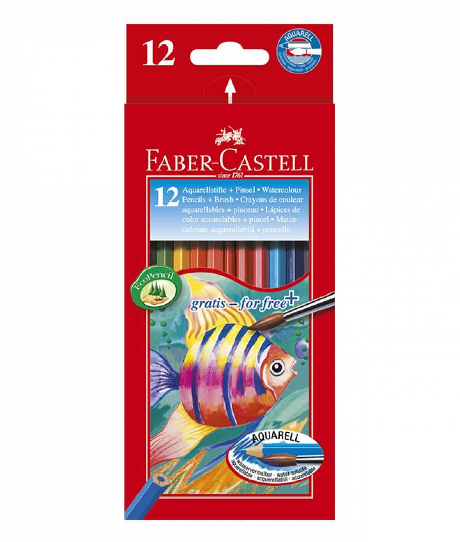 Creioane Colorate Acuarela 12 Buc si Pensula Faber-Castell