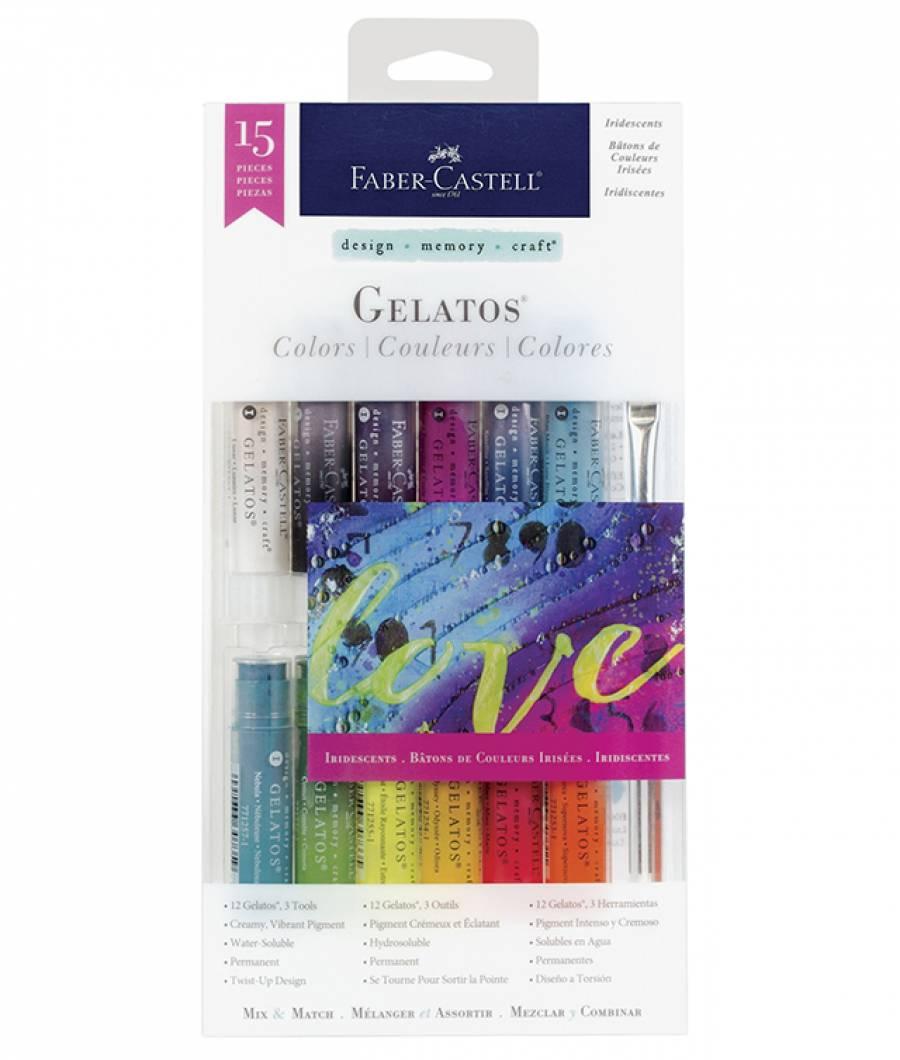 Set 12 Pasteluri Solubile Gelatos si 3 Accesorii Culori Irizatii Faber-Castell