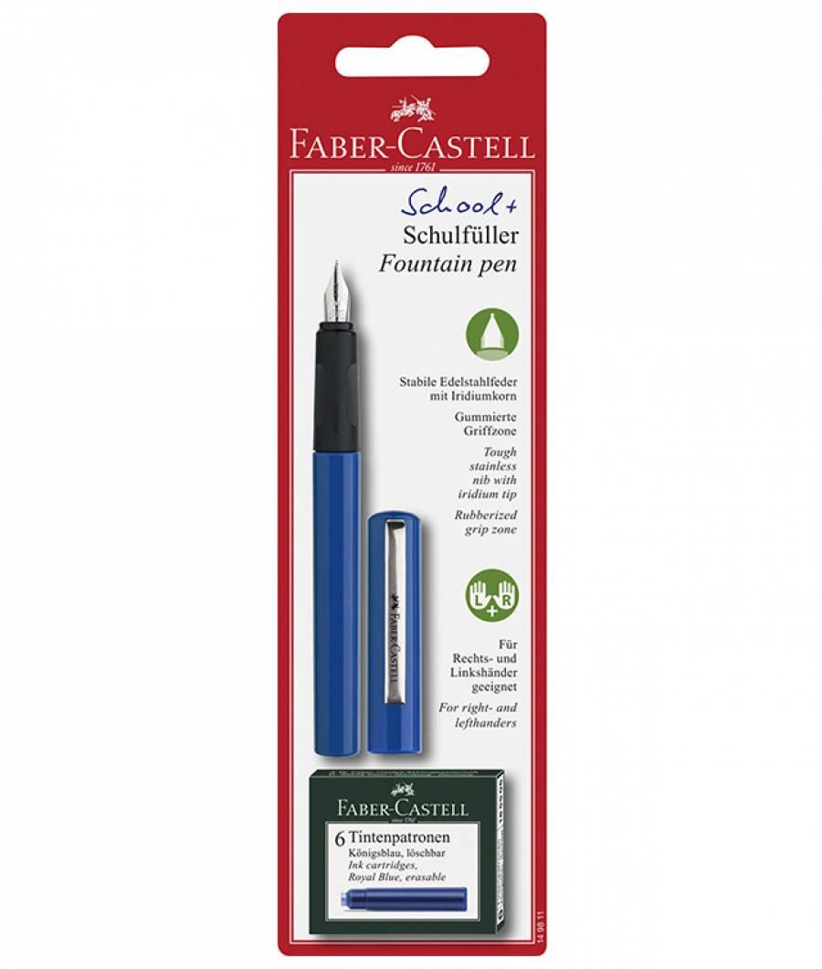 Blister Stilou Scolar Albastru si 6 Cartuse Faber-Castell