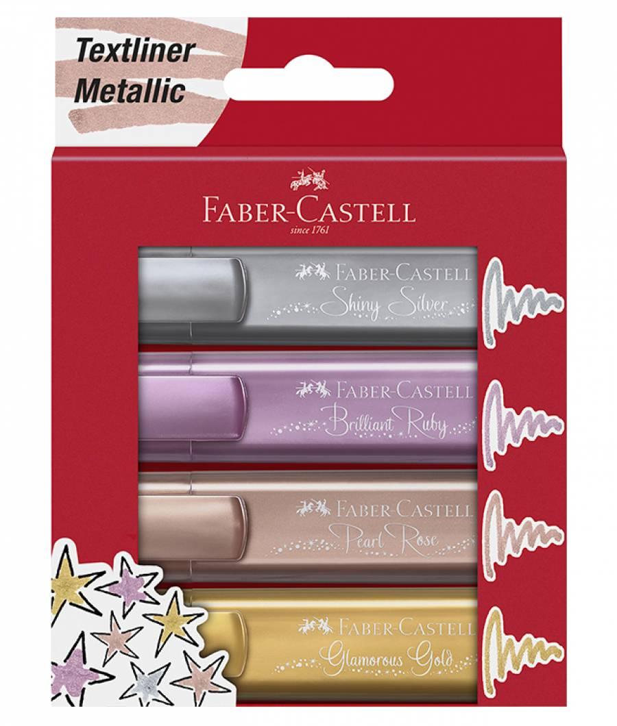 Textmarker Set 4 Buc Metalizate Faber-Castell