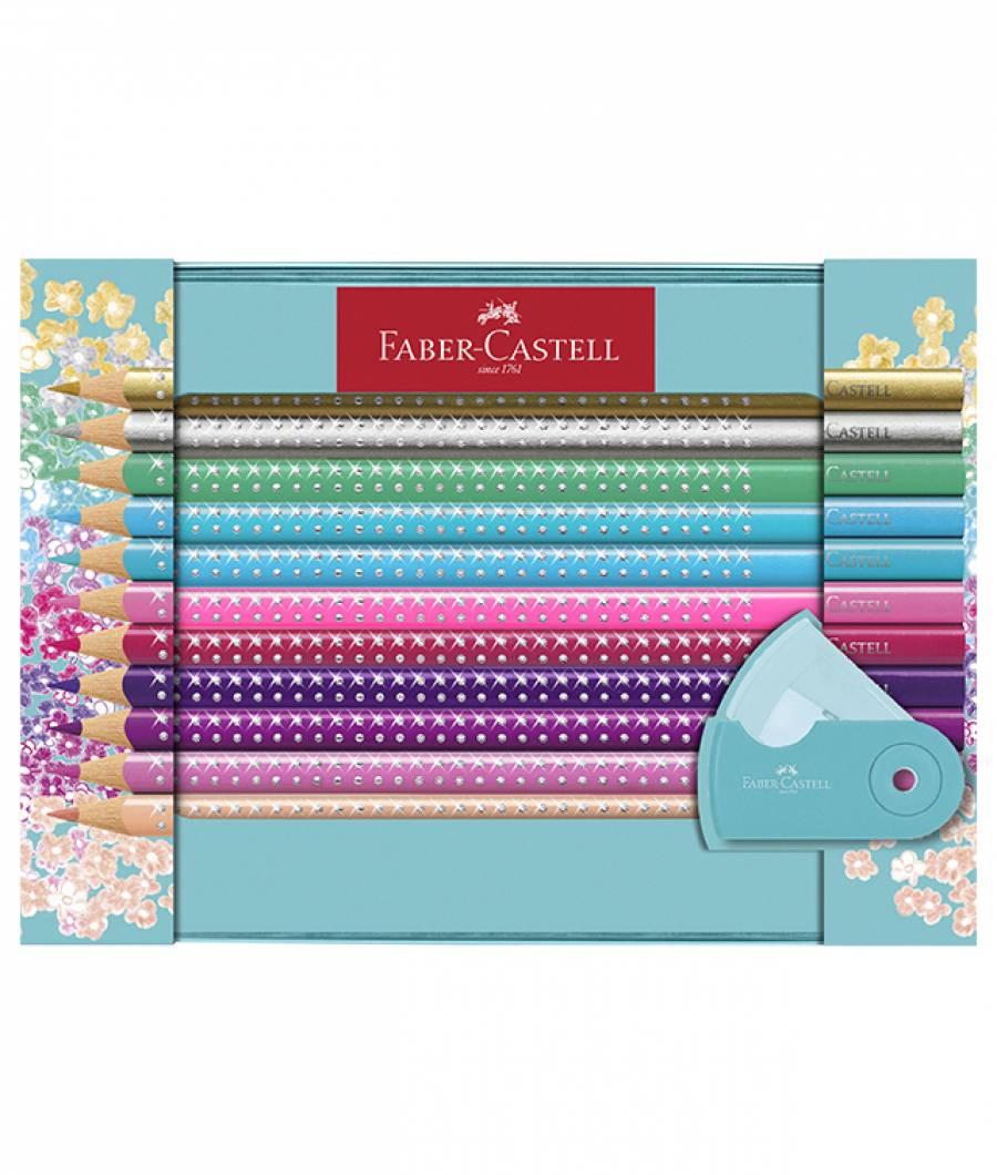 Set Cadou 20 Creioane Colorate Sparkle cu Ascutitoare Sleeve Faber-Castell