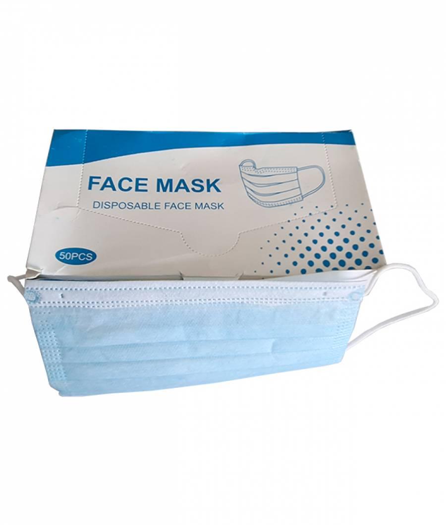Masca faciala set 50 buc protectie 3staturi culoarea albastru alb sarma ptr fixare pe nas cu elastic soft ptr prinderea dupa ureche 17.5x9.5cm