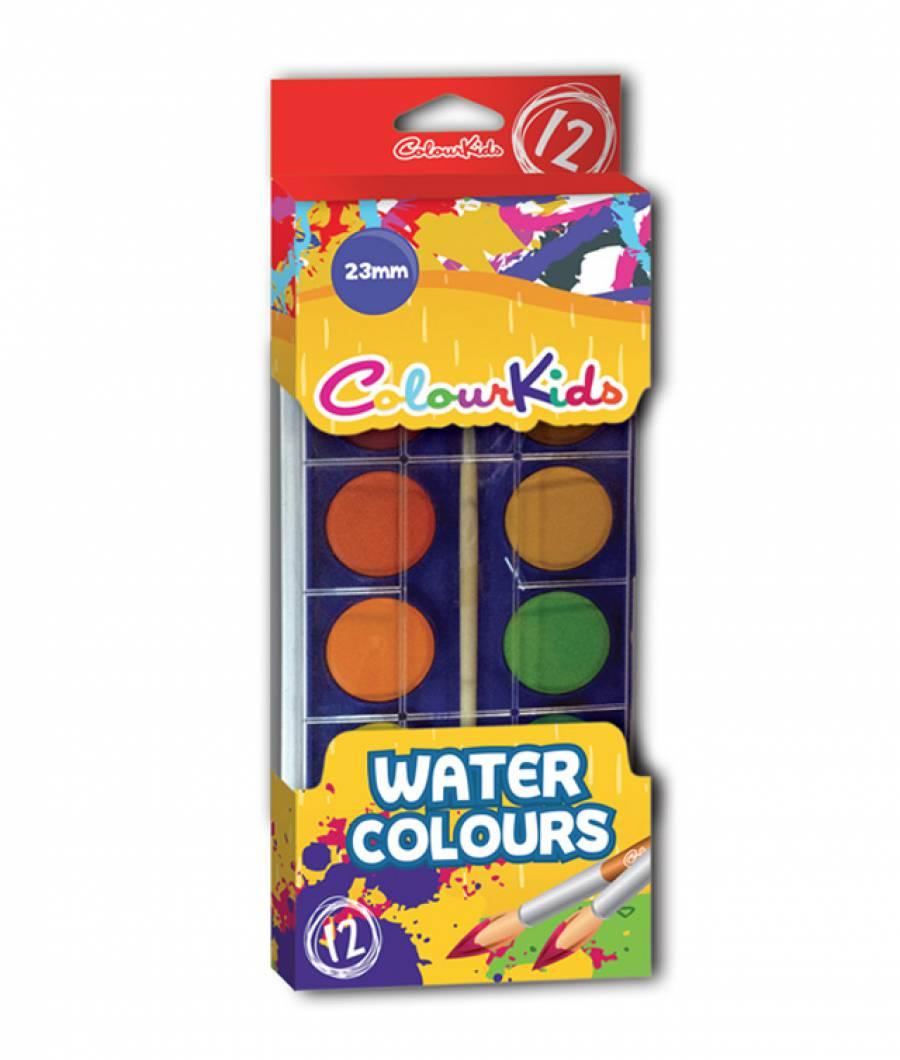 Acuarele.   12 culori  23 mm cu pensula Colour KIDS