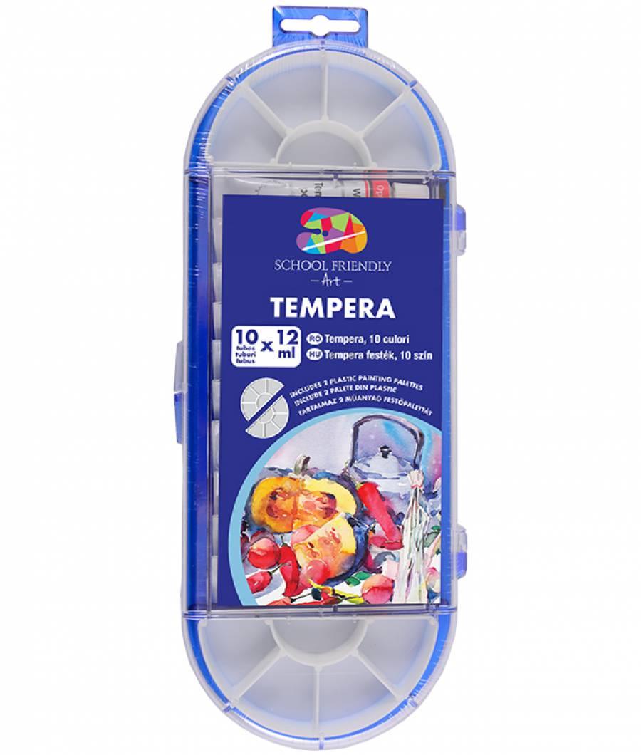 Tempera. 10 culori cutie plastic cu pensula  12ml SFART