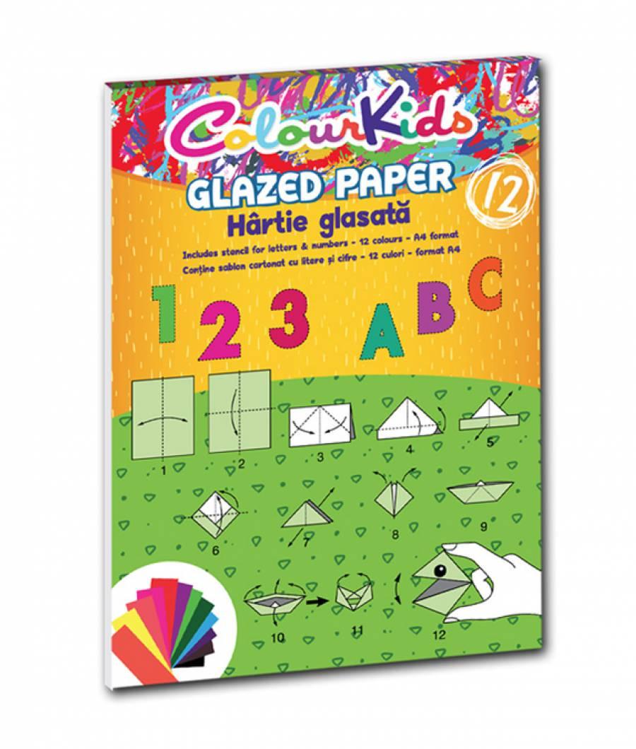 Hartie glasata A4 12  culori Colour KIDS