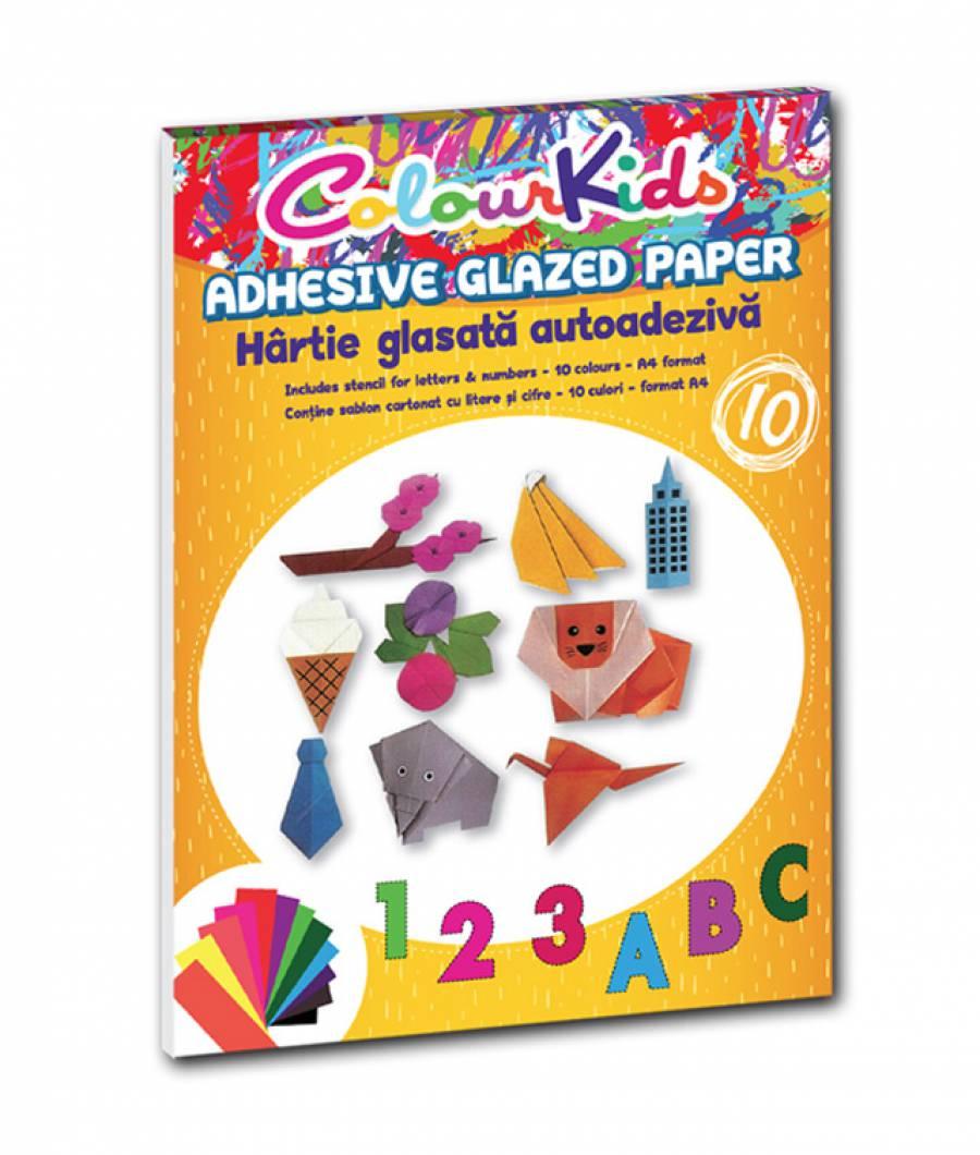 Hartie glasata A4 10  culori Adeziva Colour KIDS
