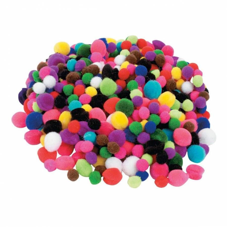 POM POM Dia 3 cm 10 culori 50 bucati culori asorta