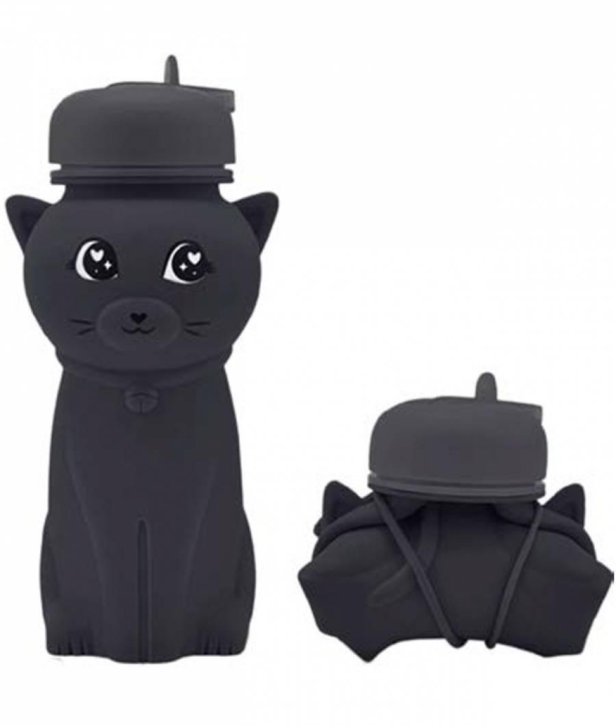 Sticla Lichide PREMIUM silicon 500 ml Pisica negru