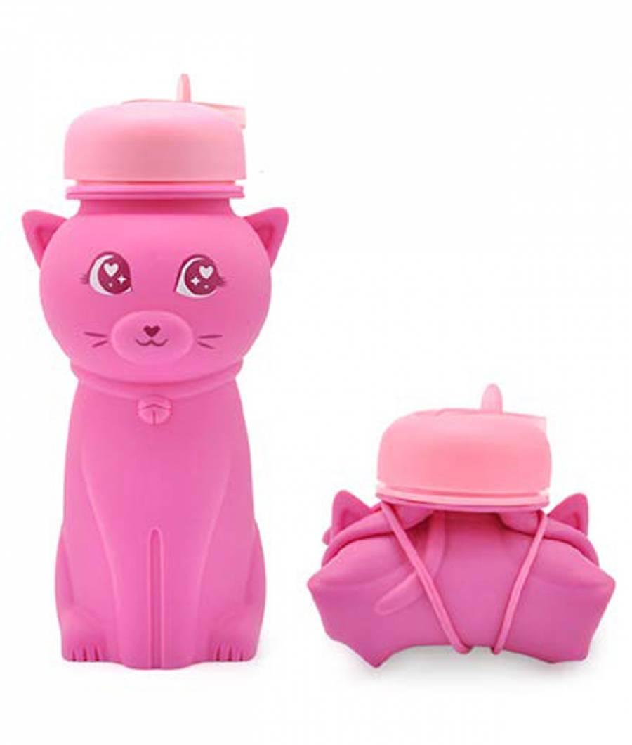 Sticla Lichide PREMIUM silicon 500 ml Pisica roz inchis