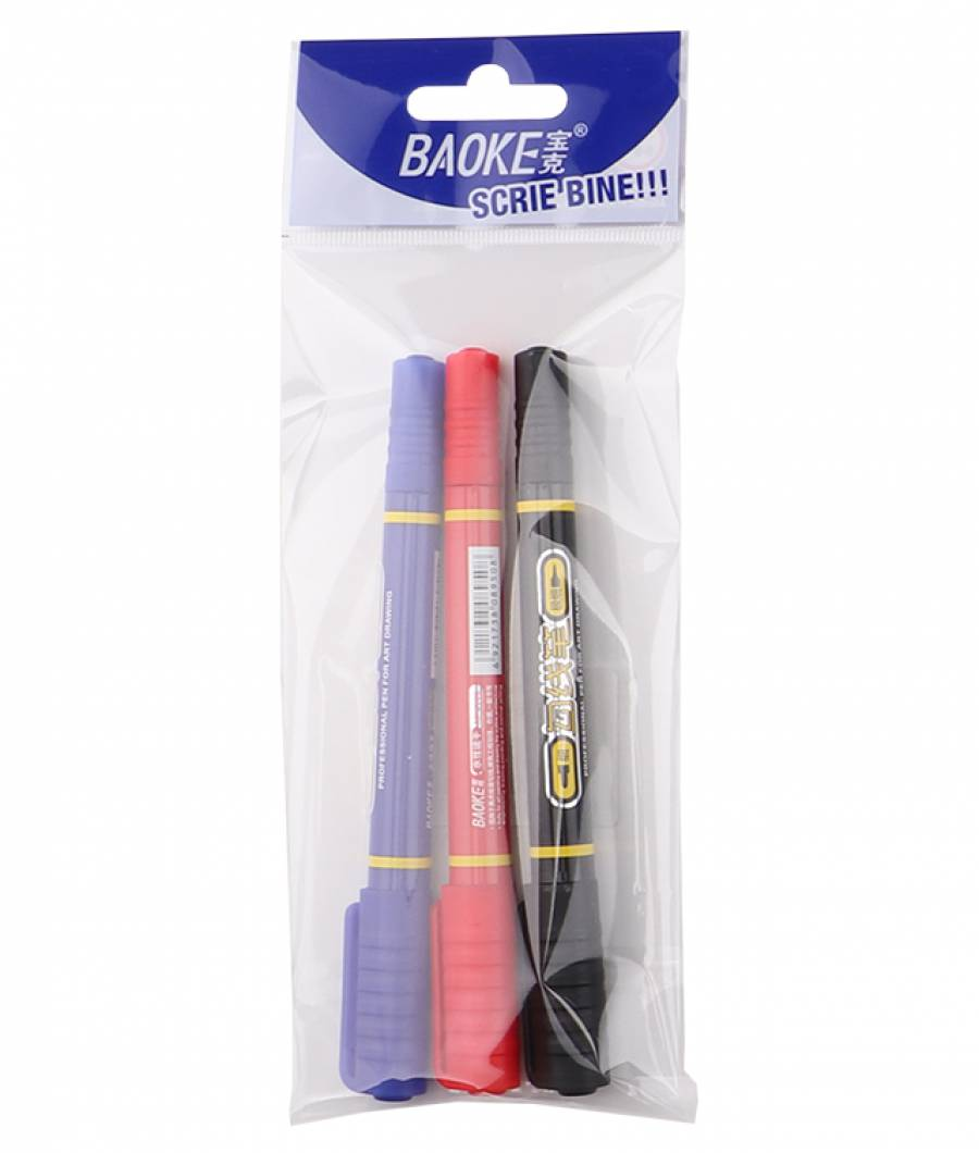 Marker Permanent S 3buc/set 2 capete  mixt