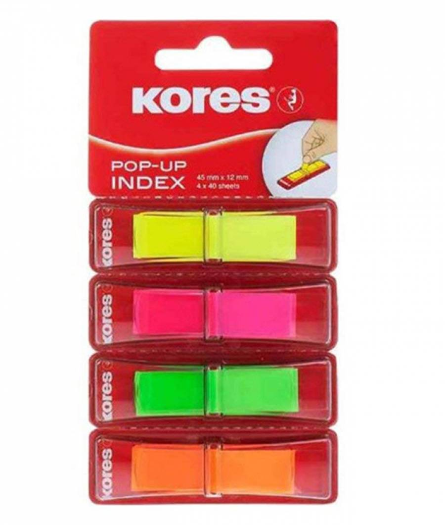 Index Plastic 12x45mm 4 Culori 40 File Kores