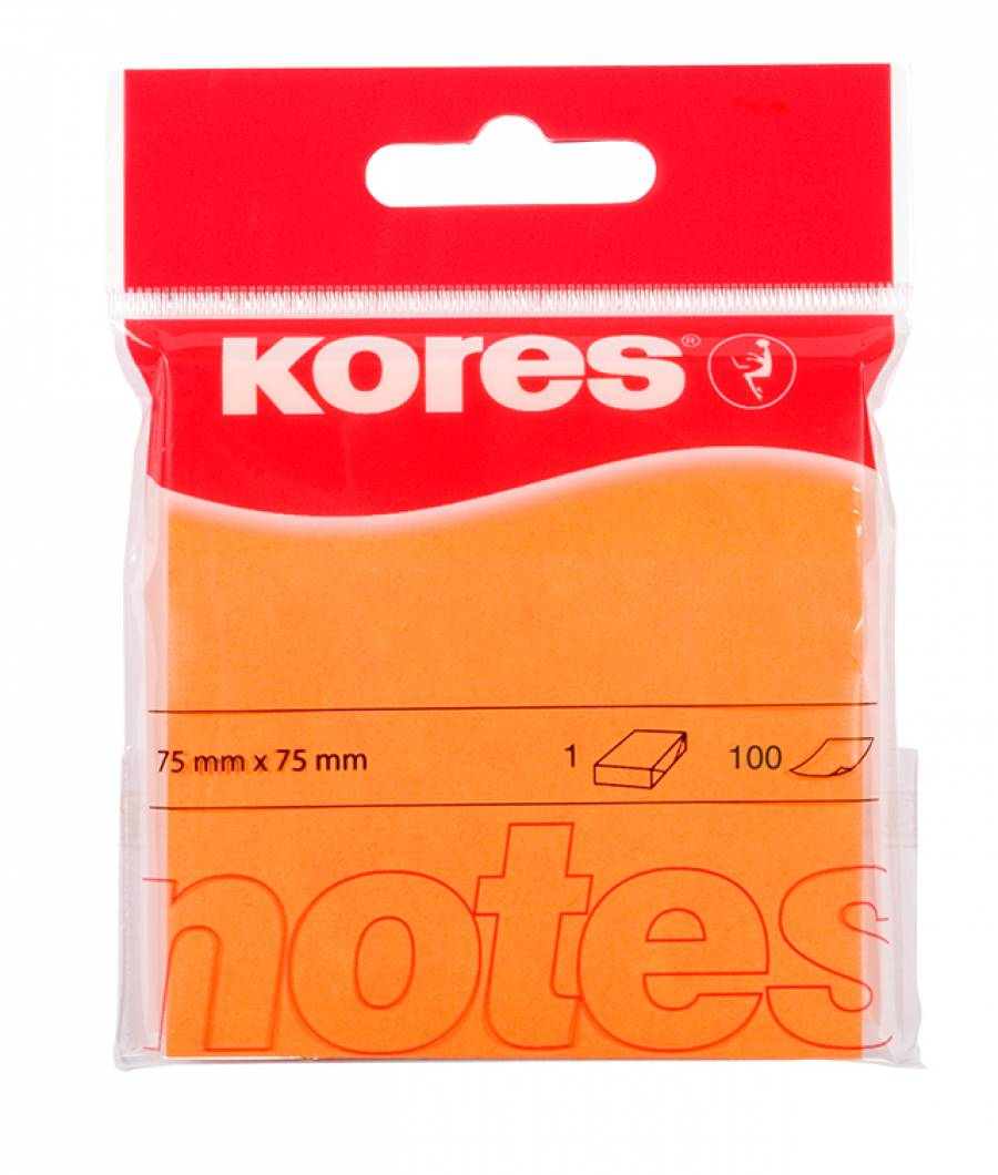 Notes Adeziv neon 75 x 75 mm 100 File Kores