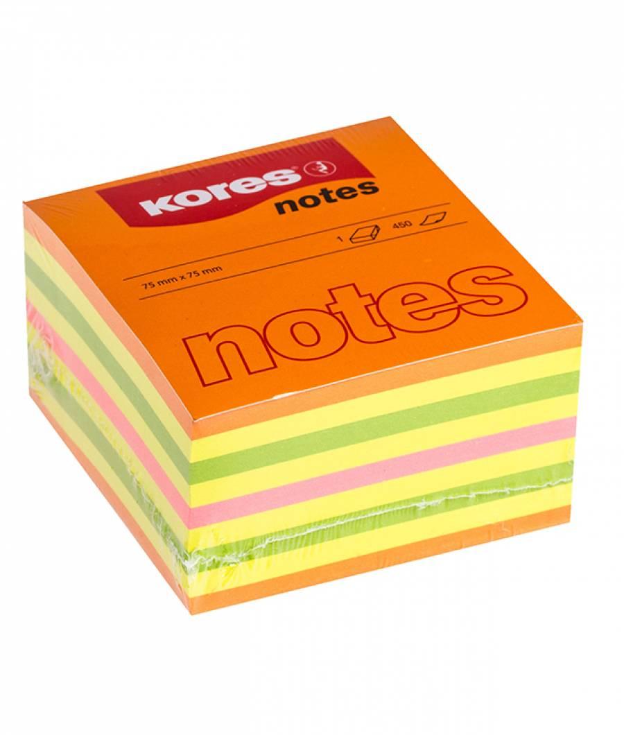 Notes Adeziv 75 x 75 mm Neon Mixt 450 File Kores