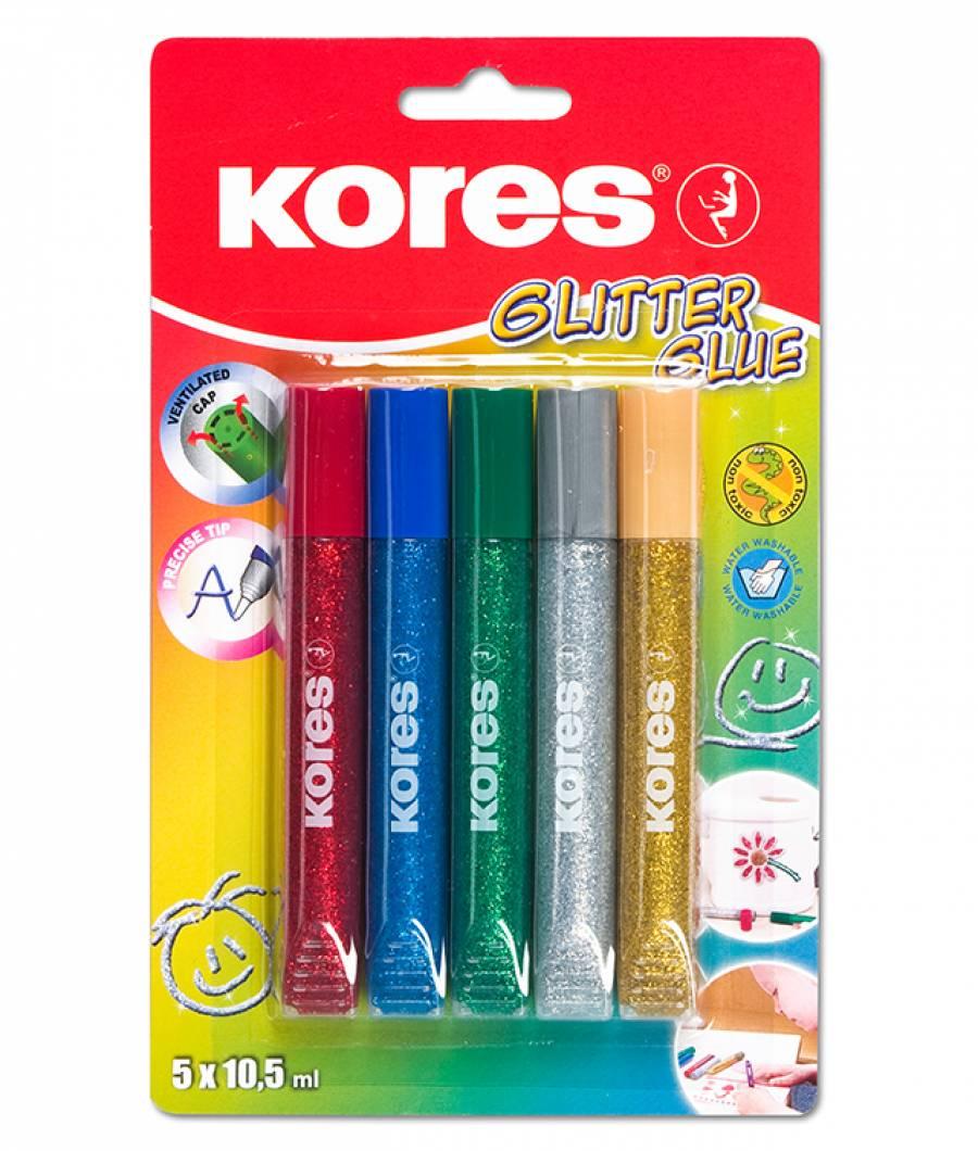 Lipici Glitter 5 Culori x 10.5ml Kores