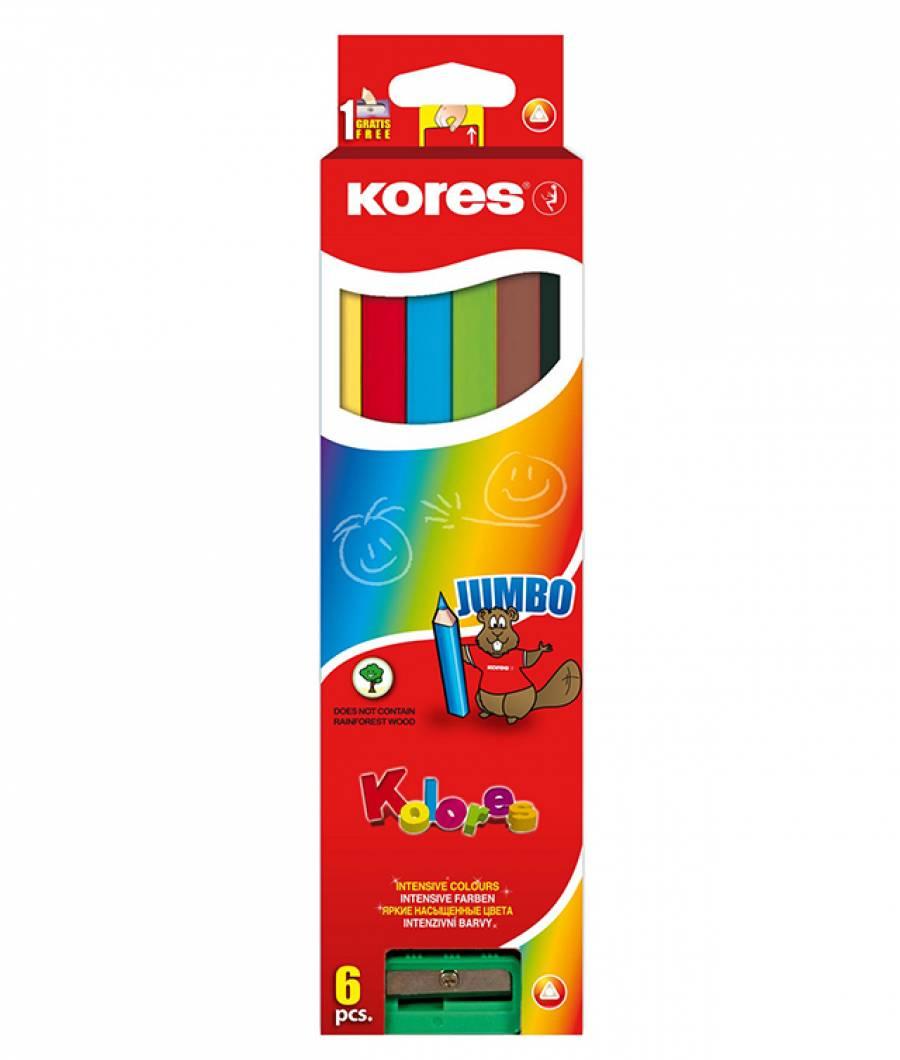 Creioane Colorate 6 Culori cu Ascutitoare Triunghiulare Jumbo Kores