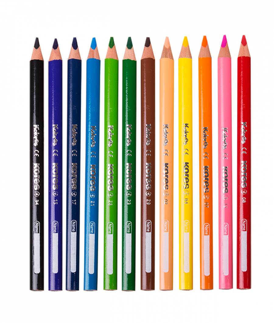 Creioane Colorate 12 Culori cu Ascutitoare Triunghiulare Jumbo Kores
