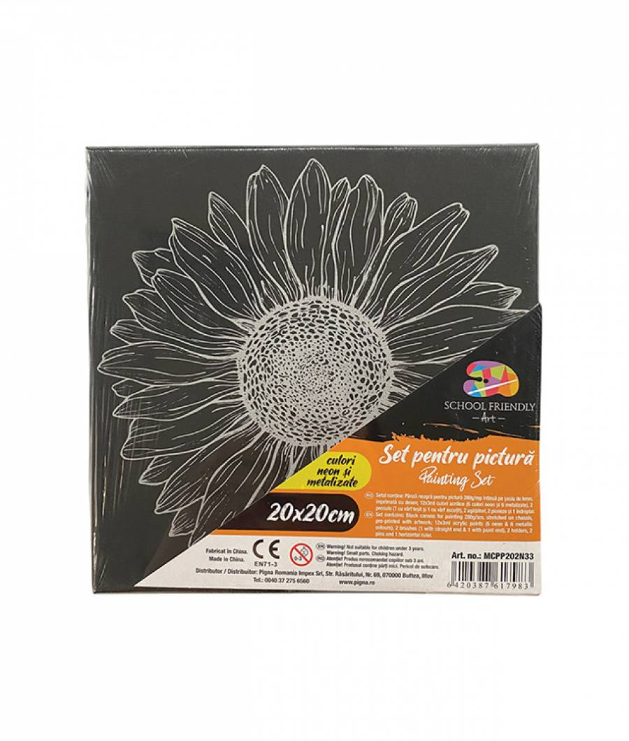 Panza SF ART pre printata neagra sasiu lemn 1.6x2.5cm 20x20cm Floare 4