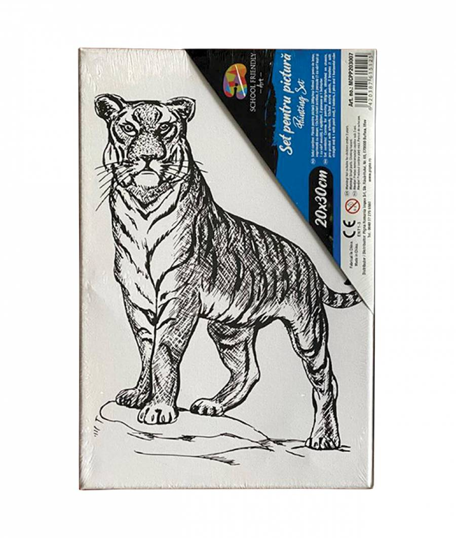 Panza pre printata SF ART sasiu lemn 1.6x2.5cm, 20x30cm Tigru