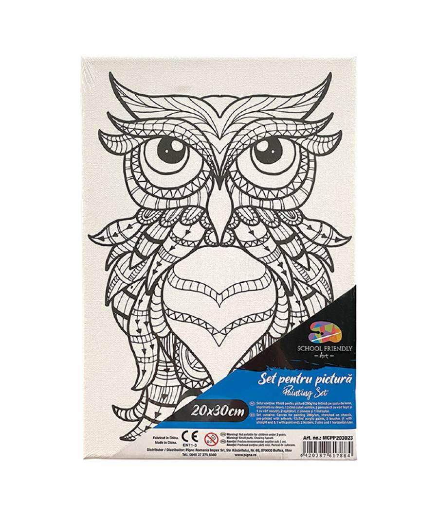 Panza SF ART pre printata  sasiu lemn 1.6x2.5cm 20x30cm Bufnita 2