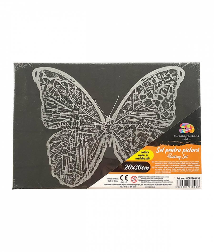Panza SF ART pre printata neagra sasiu lemn 1.6x2.5cm 20x30cm Fluture 5