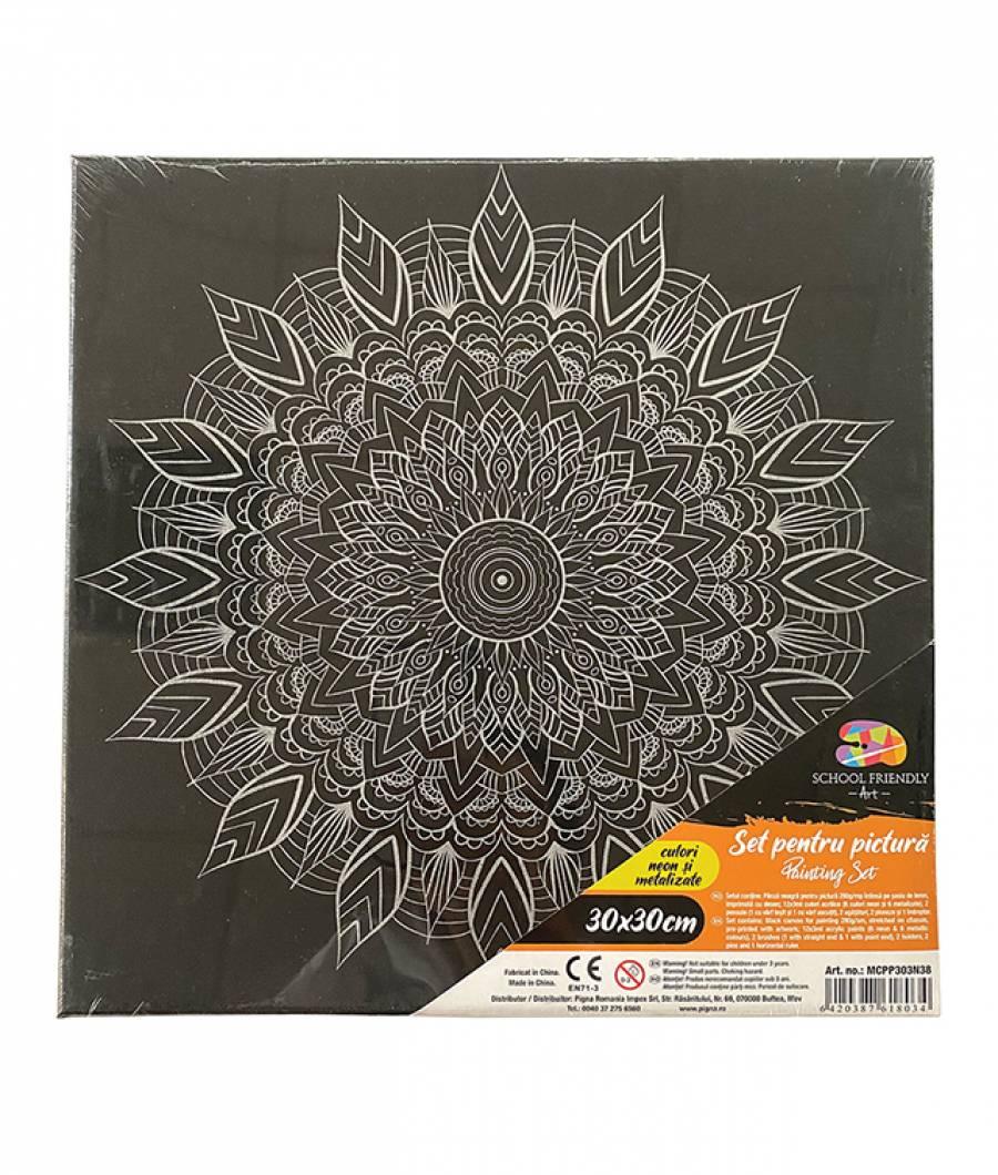Panza SF ART pre printata neagra sasiu lemn 1.6x2.5cm 30x30cm Mandala 2