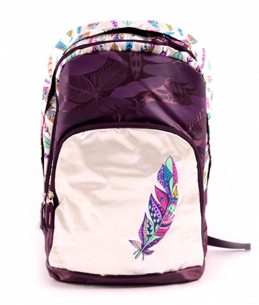 Ghiozdan tip rucsac violet-gri Boho-Tribal