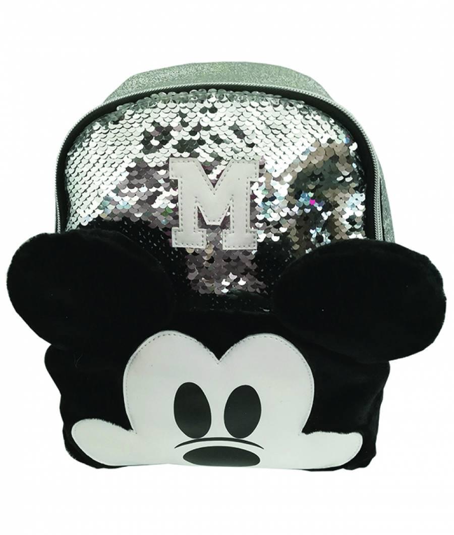 Mini ghiozdan 25Hx22x10cm Mickey paiete argintiu