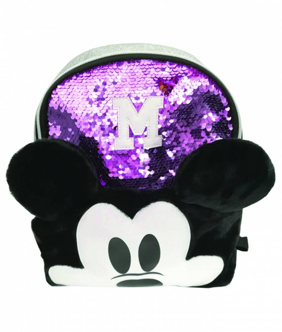 Mini ghiozdan 25Hx22x10cm Mickey paiete violet