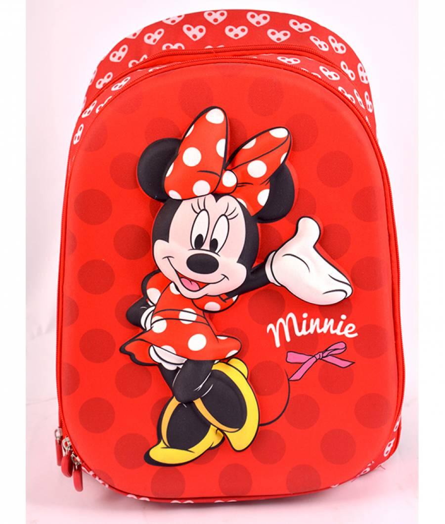 Ghiozdan, clasa 1/4, 3D, 2 fermoare, Minnie Mouse Rosu
