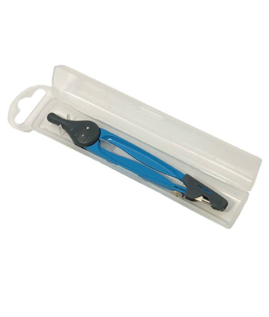 Compas scolar colorat cu protectie varf in cutie  plastic
