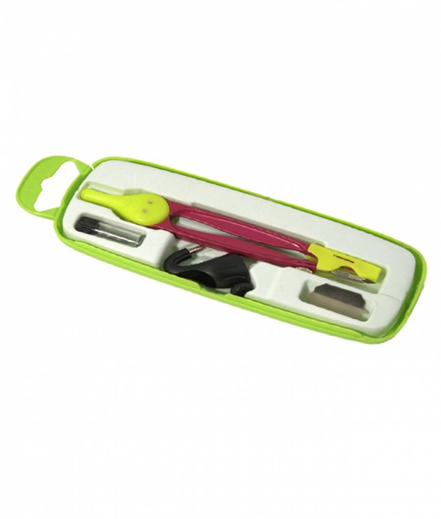 Compas scolar colorat cu protectie varf (+ 3 piese in cutie plastic)