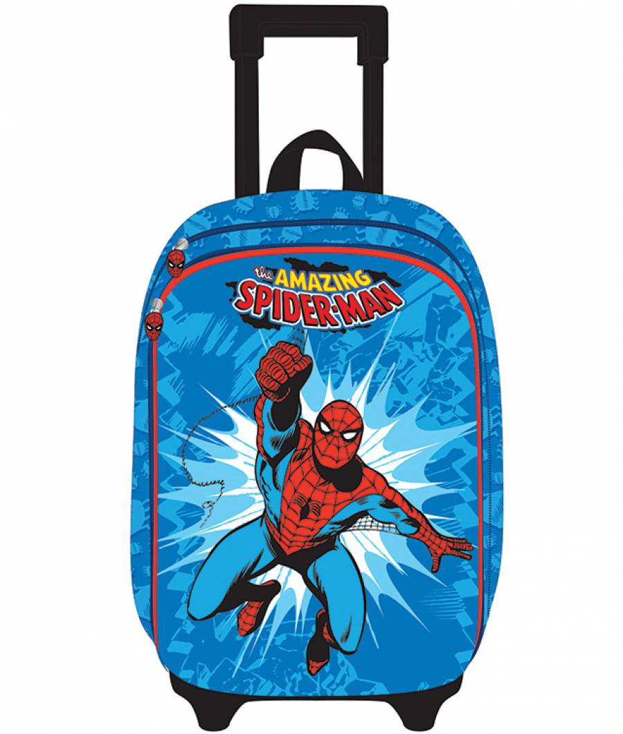 Ghiozdan Troller, clasa 1/4, 3D, 2 fermoare, Spiderman Bleau